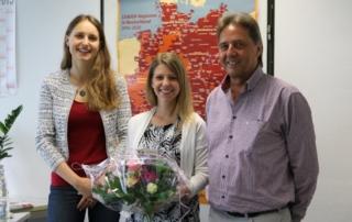 Günter Richter (stellv. Vorsitzender) und Anne-Kathrin Hoß (Regionalmanagerin) begrüßen Stefanie Wiegel (Assistenz des Regionalmanagements) an Ihrem ersten Arbeitstag in der Geschäftsstelle des Regionalvereins 3-Länder-Eck.Montag, 23. Mai 2016